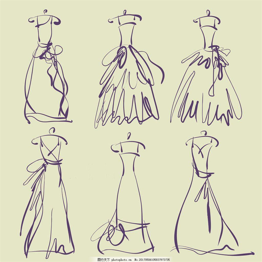 简约婚纱设计手绘图 时尚女装 职业女装 女装设计效果图 短裙 服装