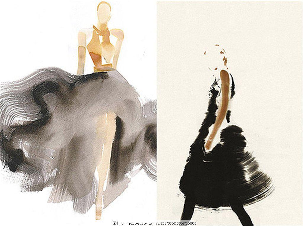 2款手绘婚纱设计图 时尚女装 职业女装 女装设计效果图 短裙 服装图片