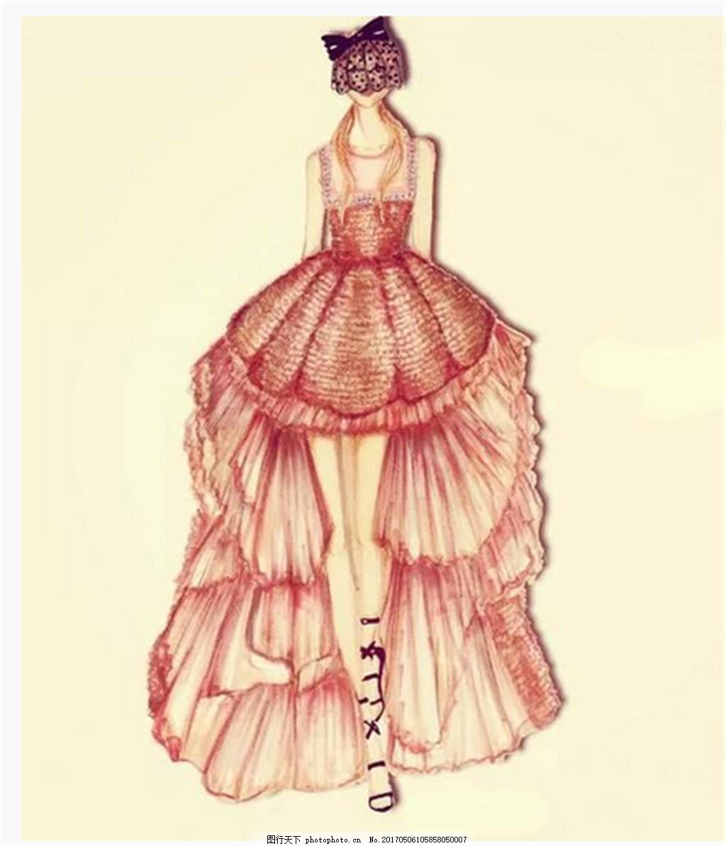 设计图库 现代科技 服装设计  红色时尚礼服设计图 服装设计 时尚女装