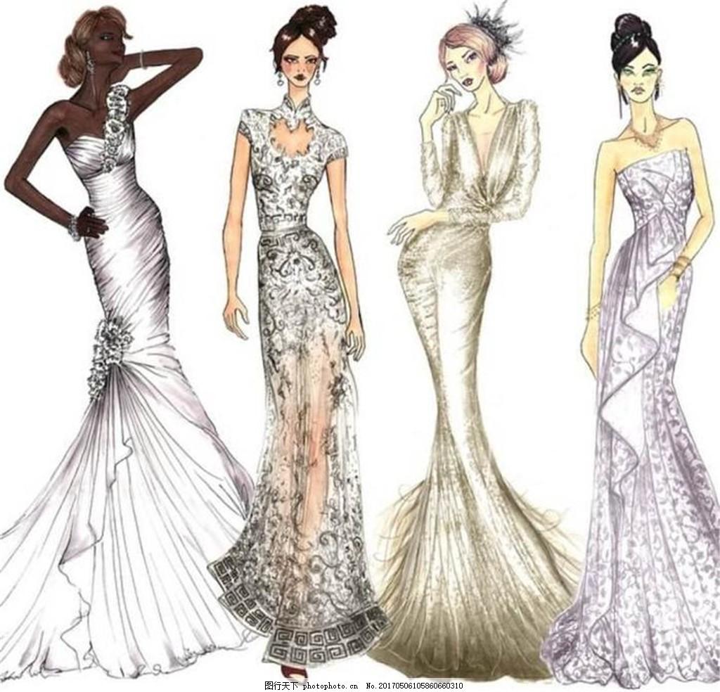 4款修身长裙礼服设计图 时尚女装 职业女装 女装设计效果图 短裙