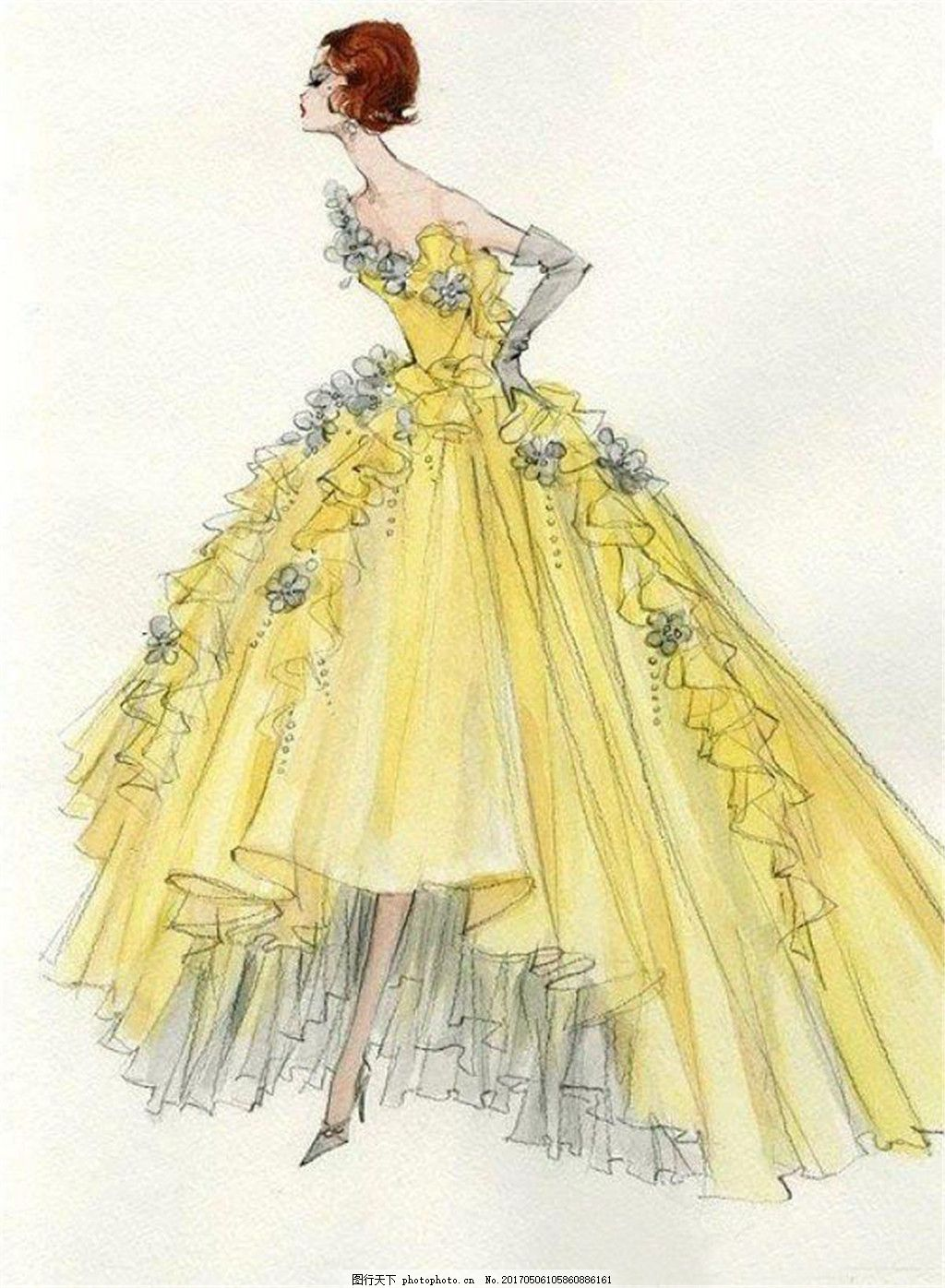黄色花朵礼服设计图