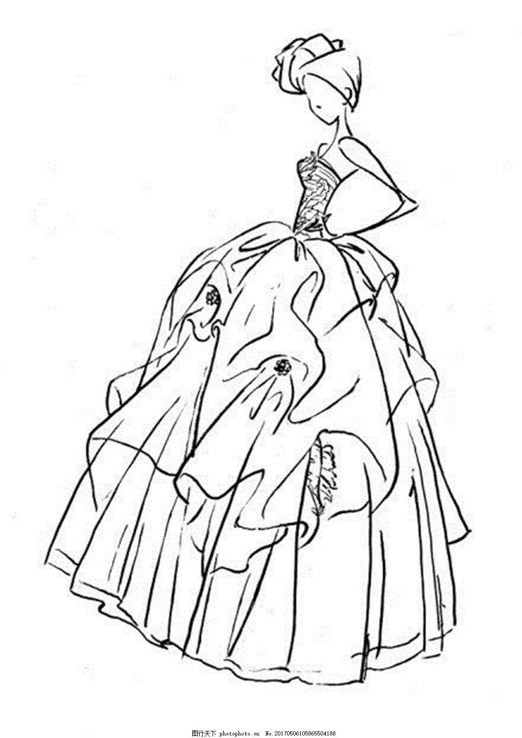 设计图库 现代科技 服装设计  时尚抹胸礼服设计图 服装设计 时尚女装