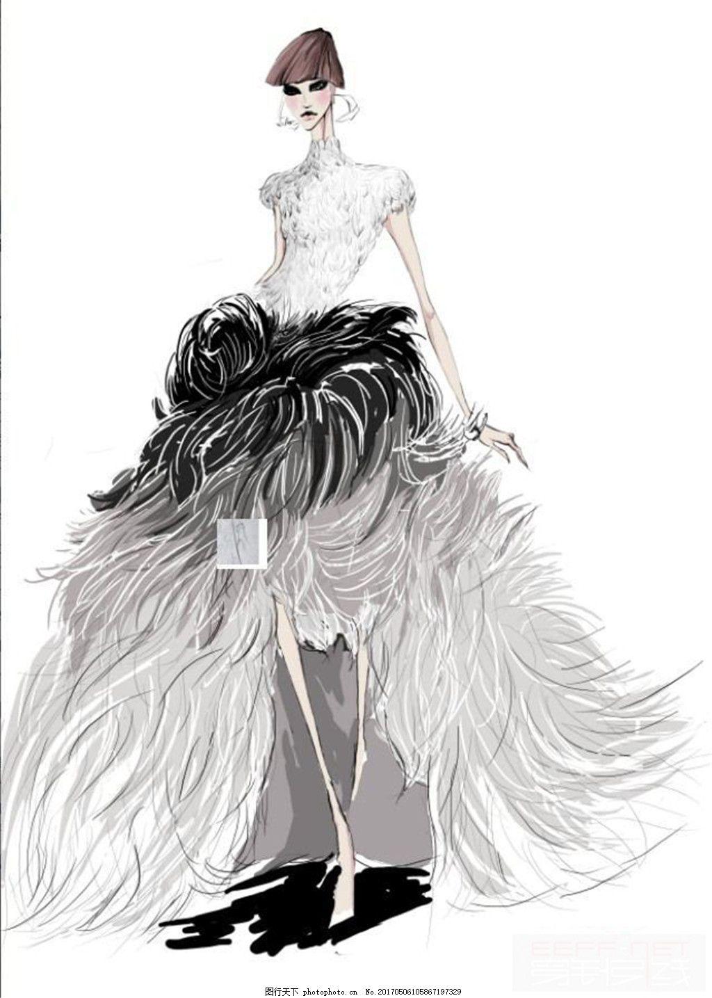 白色婚纱设计图 时尚女装 职业女装 女装设计效果图 短裙 服装图片