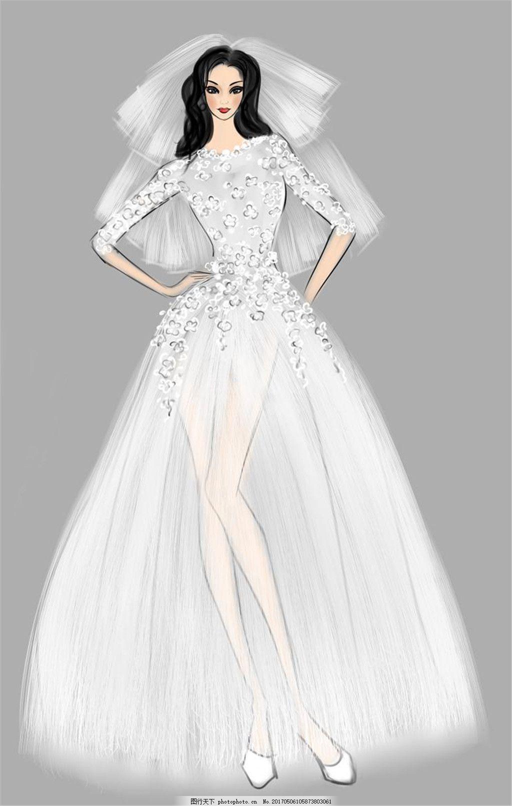 钻石婚纱长裙设计图