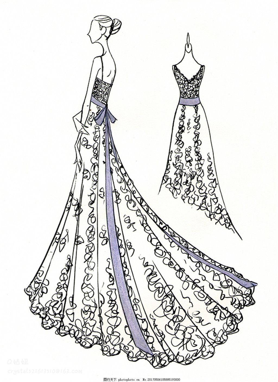 设计图库 现代科技 服装设计  碎花吊带长礼服设计图 服装设计 时尚