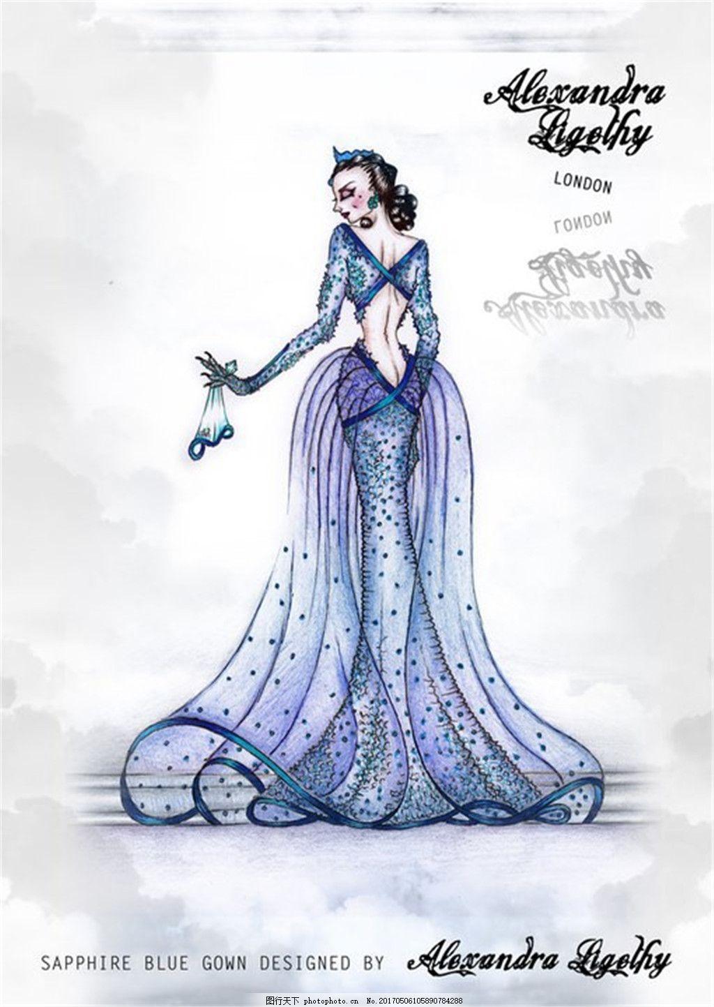 蓝色美人鱼礼服设计图