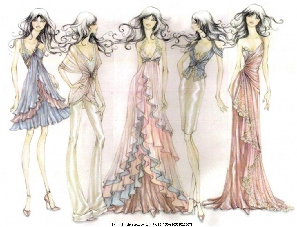5款小清新礼服设计图 服装设计 时尚女装 职业女装 女装设计效果图