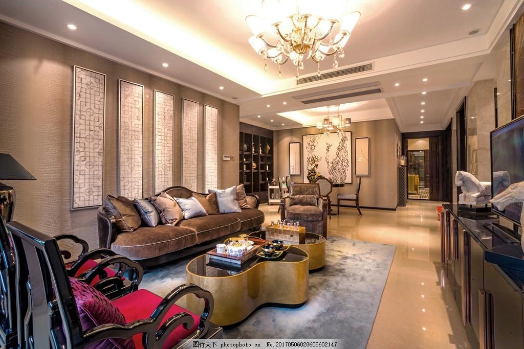 中式别墅客厅简装效果图