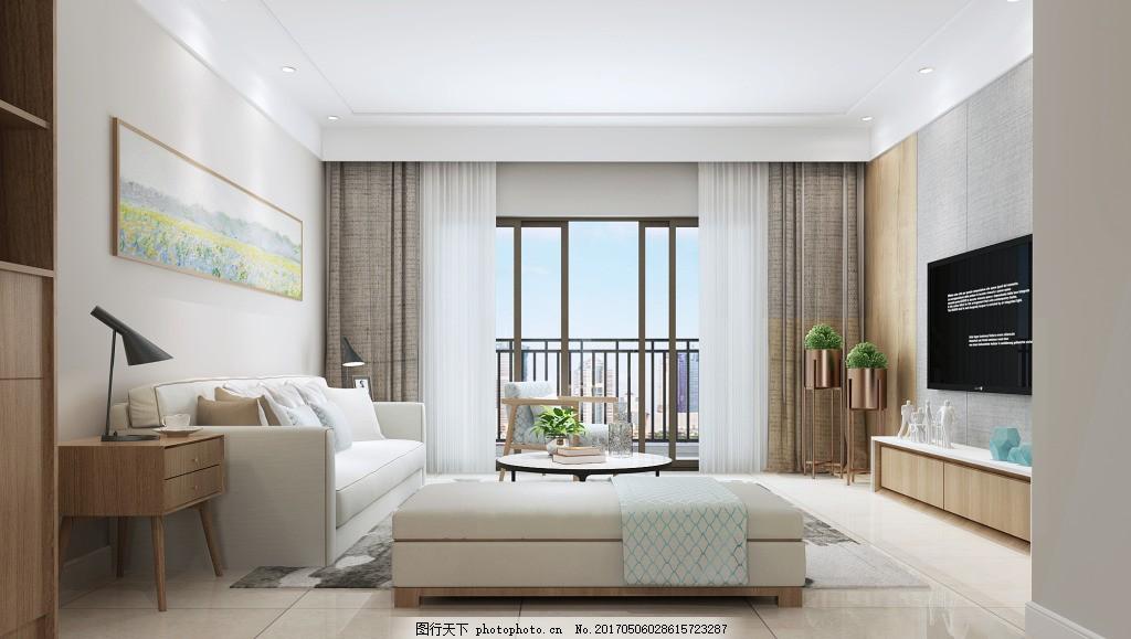感背景墙挂画沙发客厅效果图             家装效果图 极简风 欧式 现