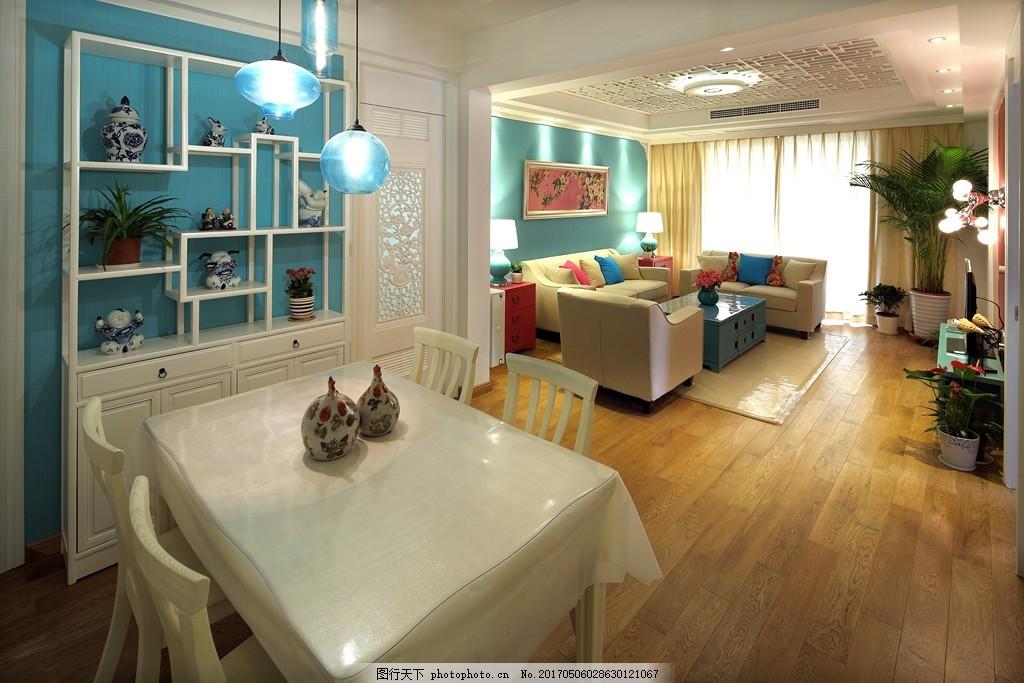 美式家居客厅餐厅简装效果图