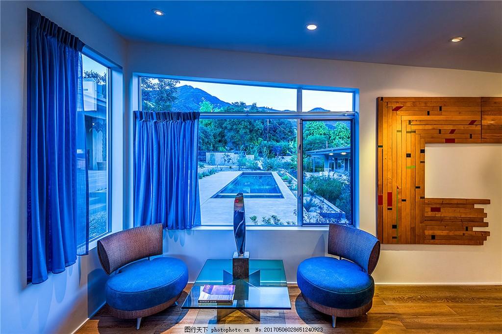 现代蓝色系客厅装修效果图 室内设计 家装效果图 现代装修效果图