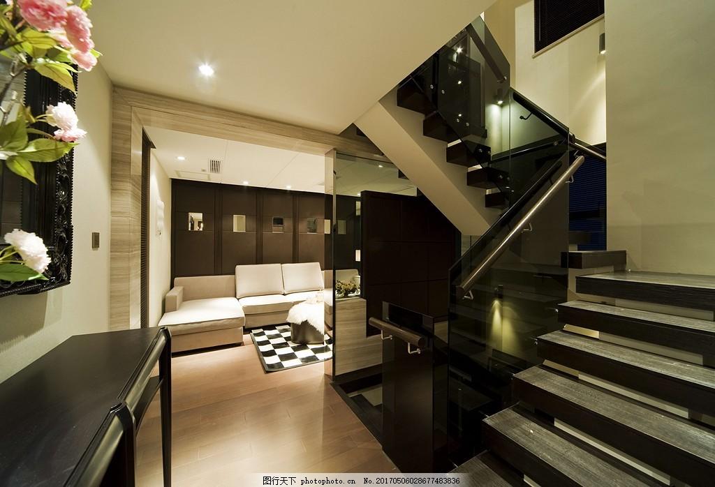 豪华别墅客厅楼梯间装修效果图,室内设计 家装效果图
