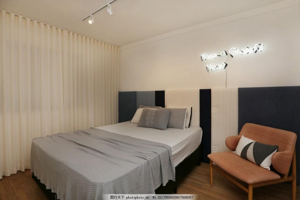北欧简约卧室装修效果图 室内设计 家装效果图 时尚 奢华 设计素材