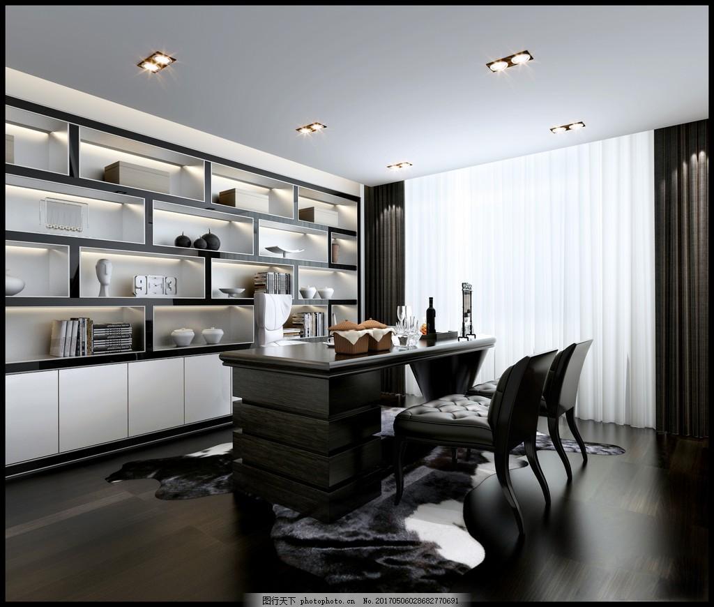 现代中式书房装修效果图 室内效果图图片下载 时尚 室内装修 家装实景