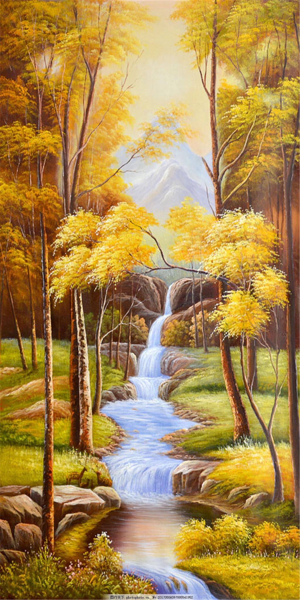 秋天树林小溪油画 无框画 风景油画 绘画艺术 枫叶 枫树 书画文字