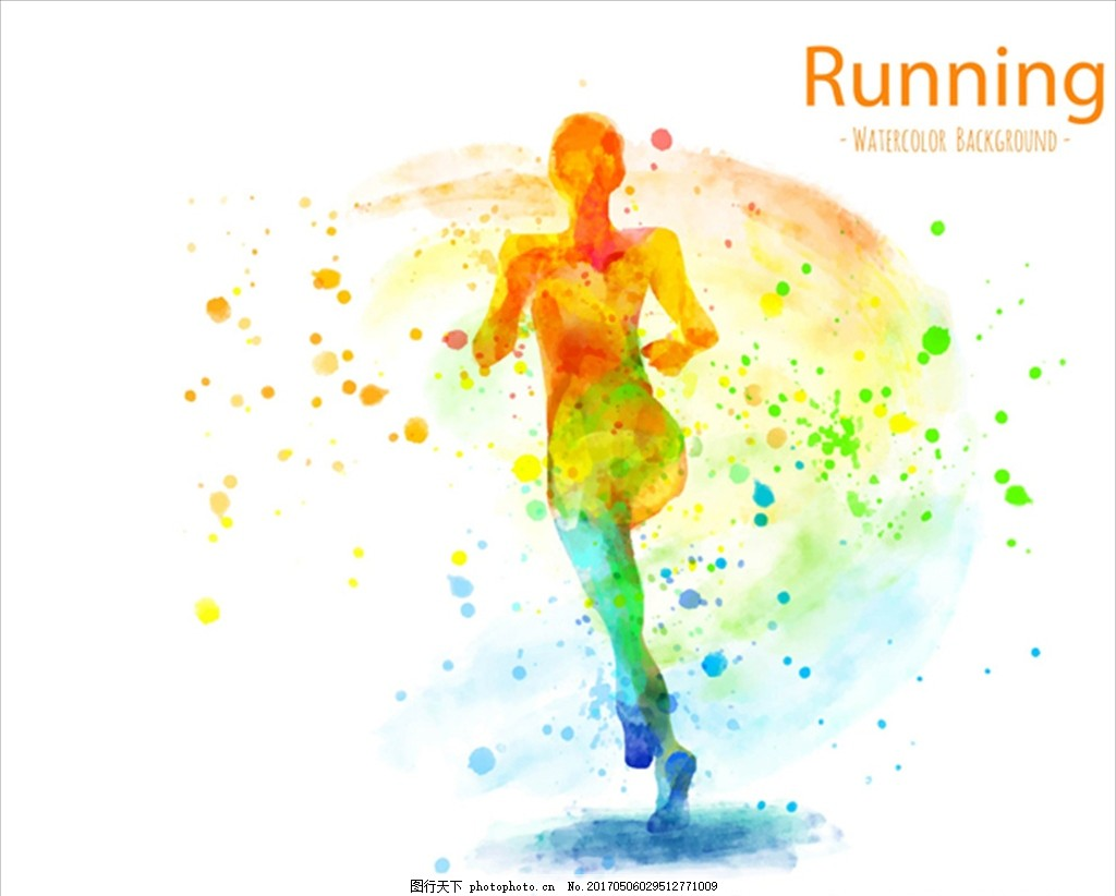 手绘水彩抽象跑步海报