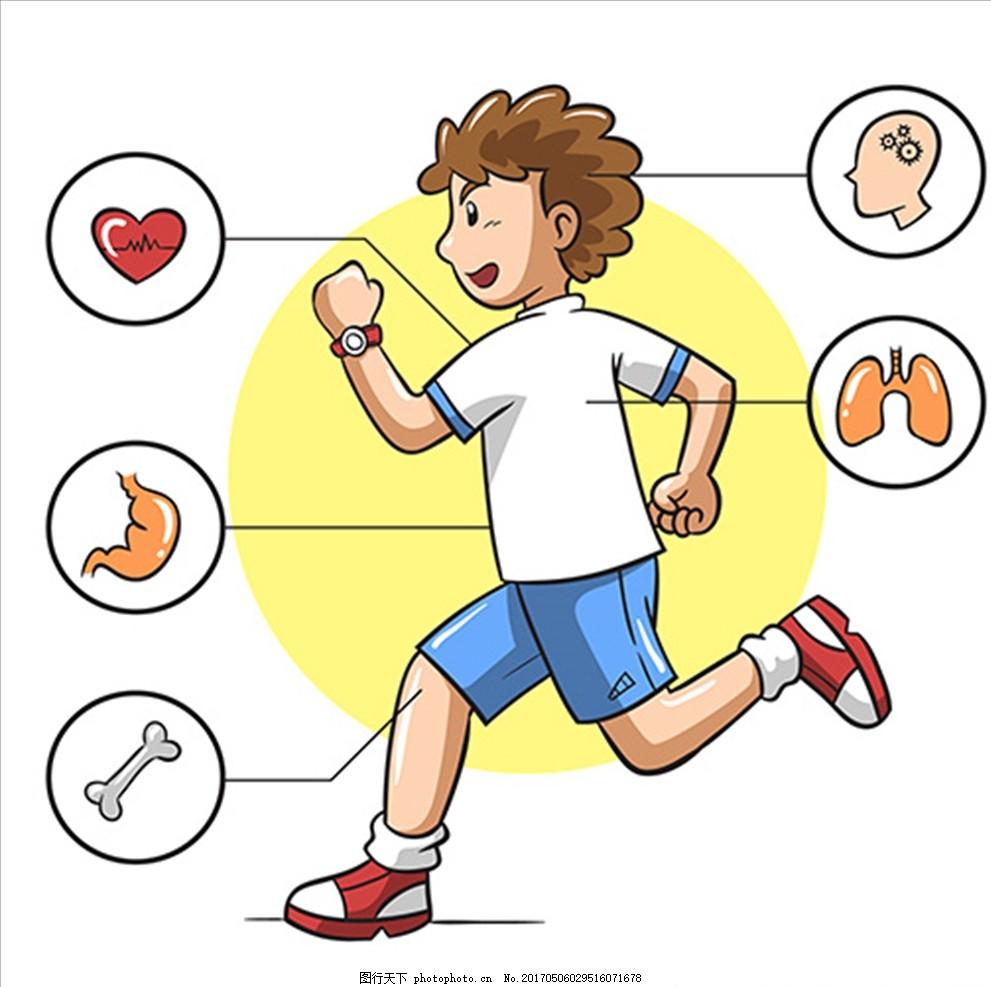 卡通男子跑步信息图表图片