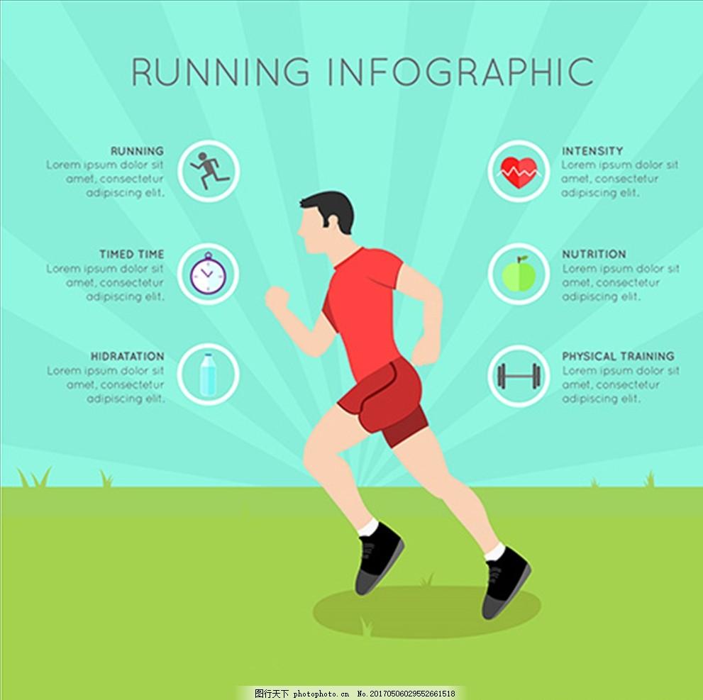 卡通男子跑步锻炼运动信息图图片