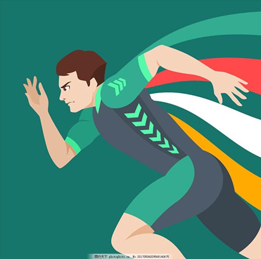 复古卡通跑步运动员插图