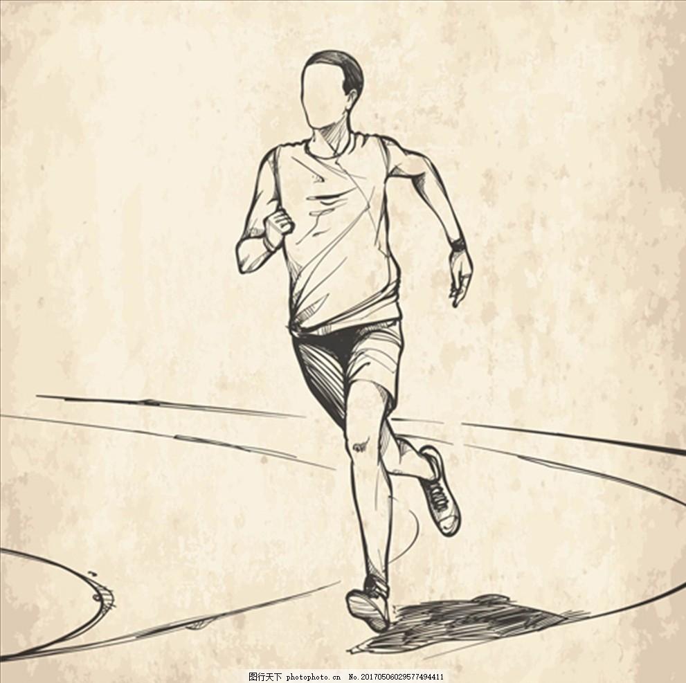 手绘素描线稿跑步的男子 跑步活动 跑步活动海报 全民跑步 全民跑步节