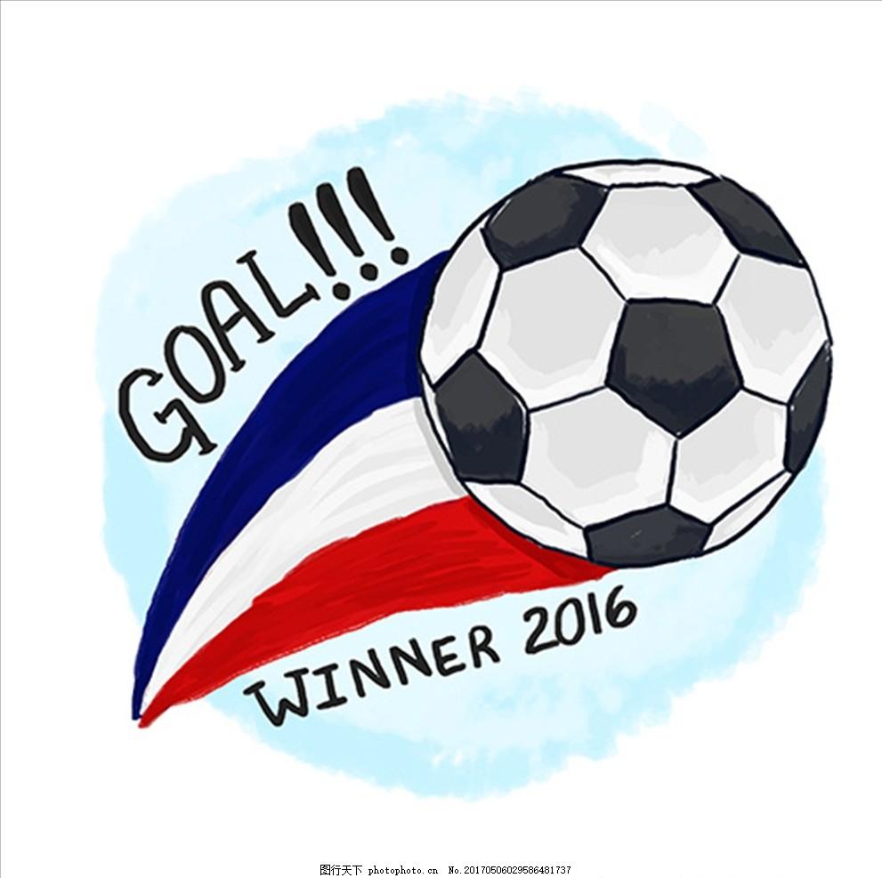 手绘水彩法国足球插图 足球海报 足球训练营 足球培训 足球练习