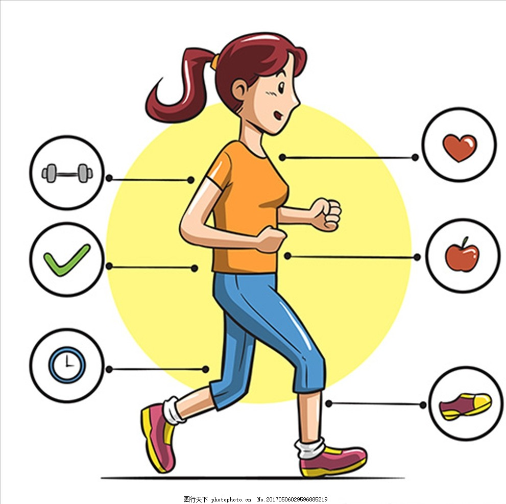 卡通女子跑步信息图表图片
