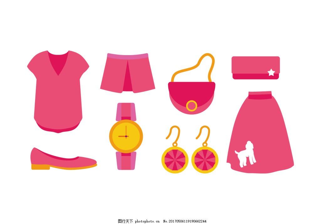服饰 手绘服饰 衣服 手绘衣服 矢量素材 连衣裙 裙子 时尚服饰 鞋子