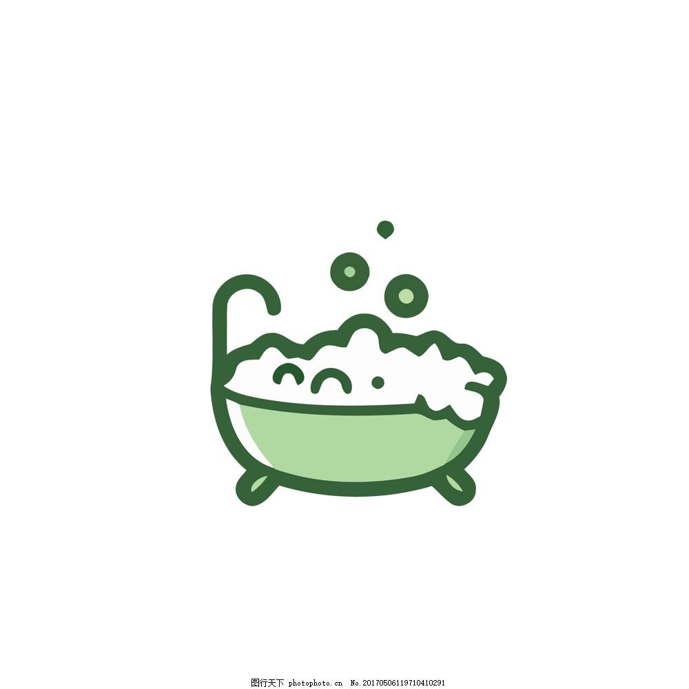 简约创意小清新可爱卡通绿色浴缸里的泡泡