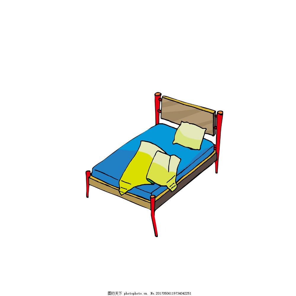 卡通手绘单人床