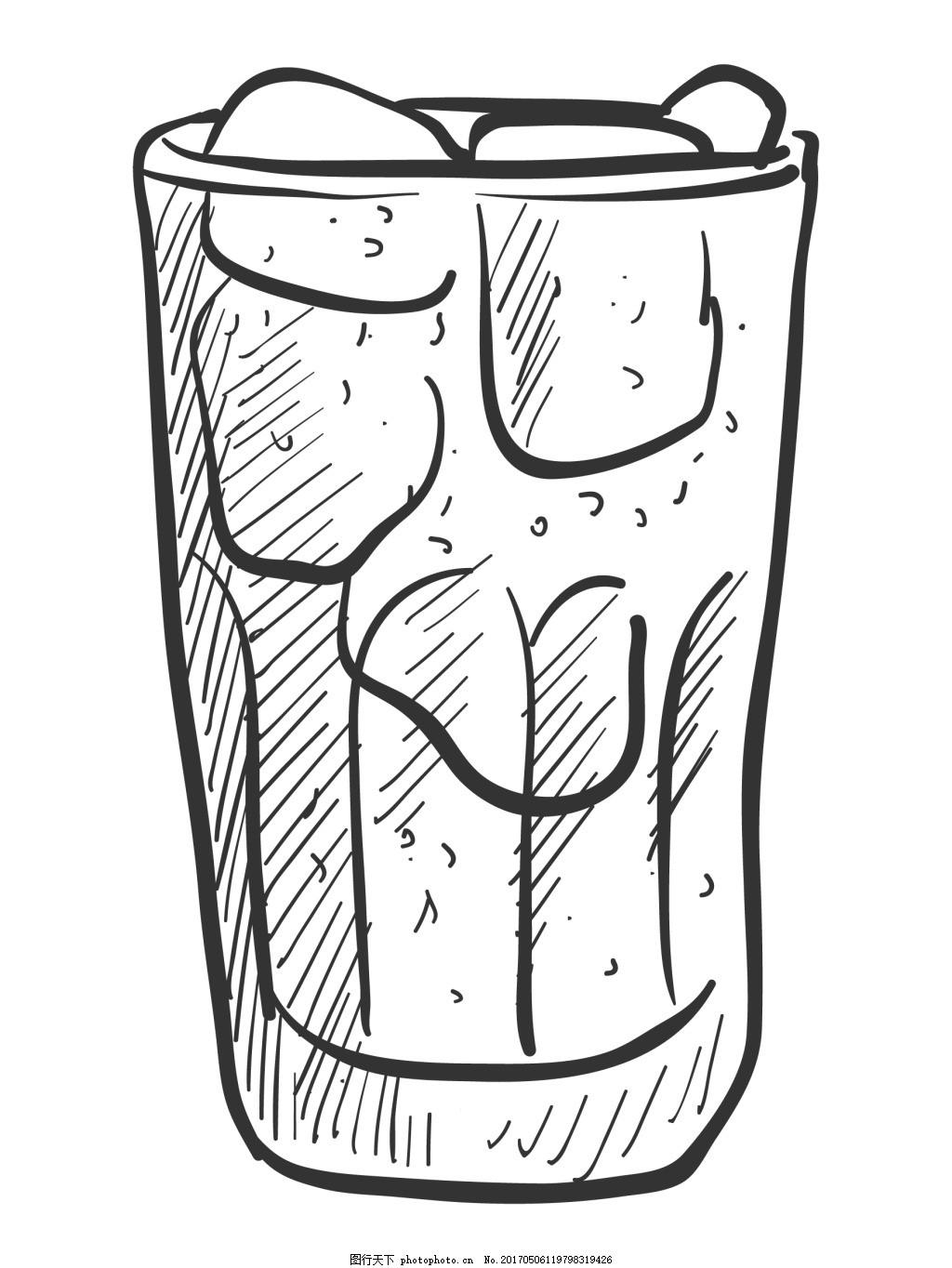 卡通矢量手绘线稿玻璃杯商业钢笔设计元素 饮料 创意设计 插画 排版图片