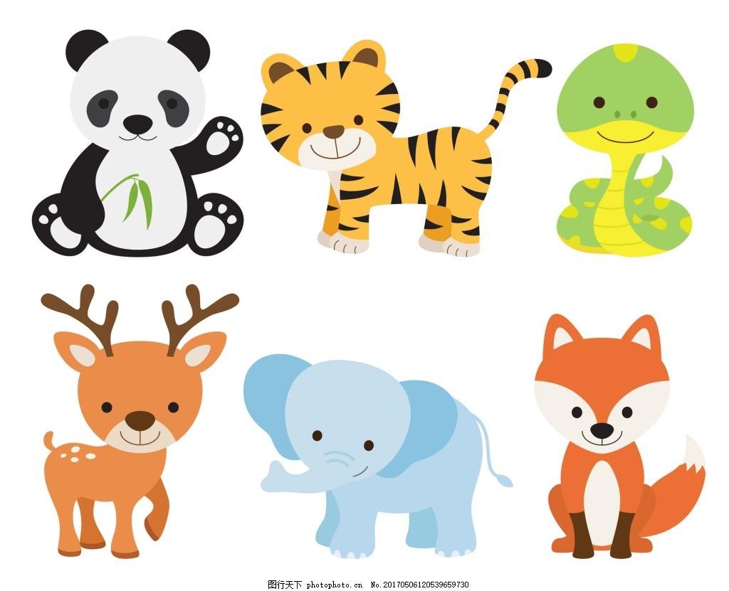 卡通动物宝宝矢量素材