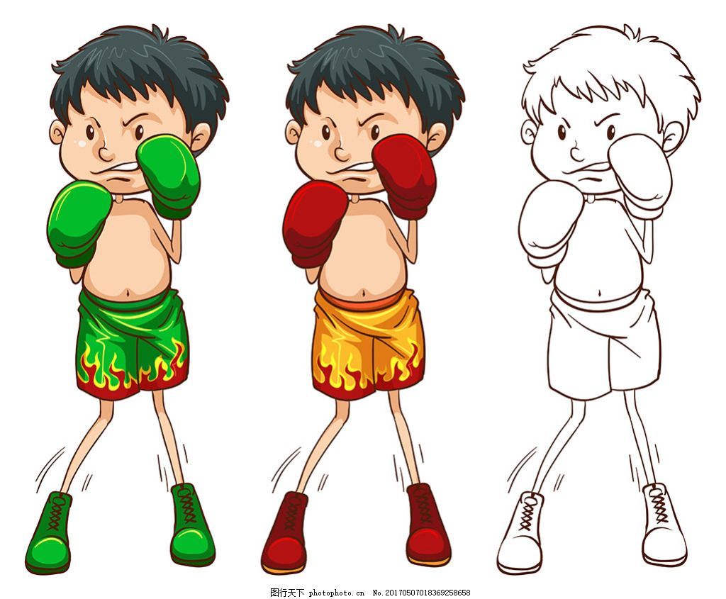 卡通风格 拳击手 男孩插图 卡通男孩 卡通可爱男孩 大眼娃娃 漂亮小