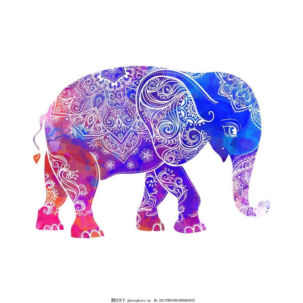 彩色花纹大象 动物 可爱 彩色 渐变 花纹 大象