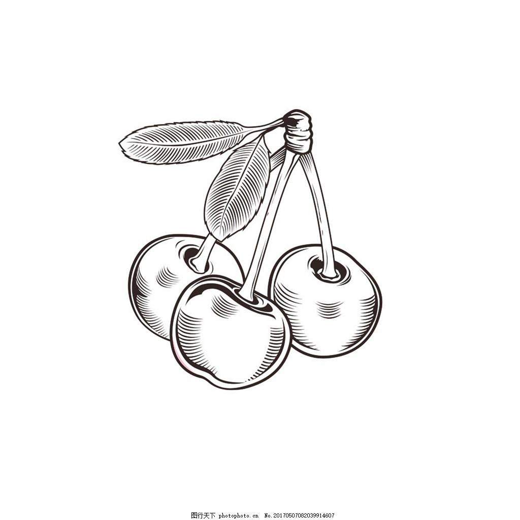 卡通樱桃素描图片