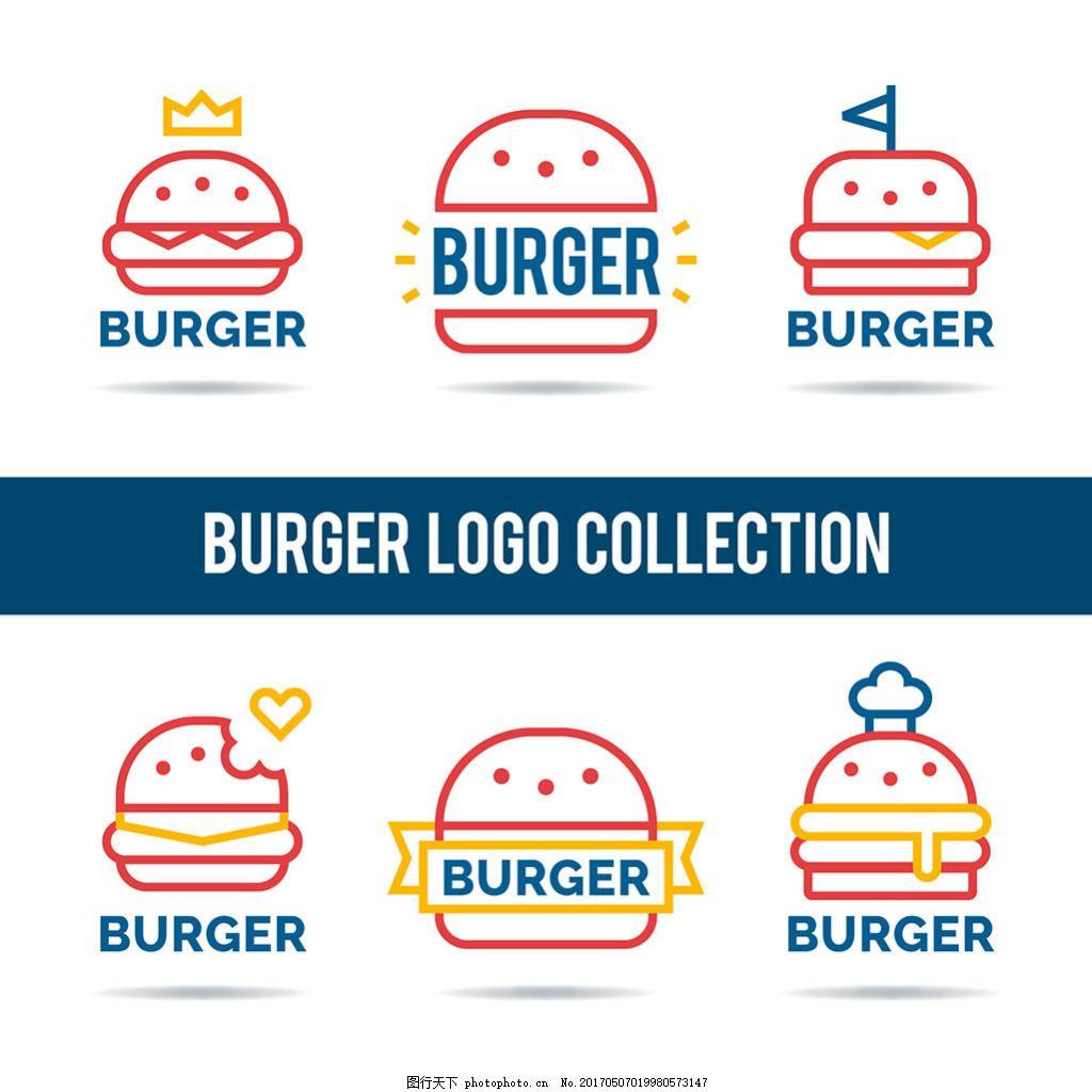 线条风格汉堡标志logo矢量素材