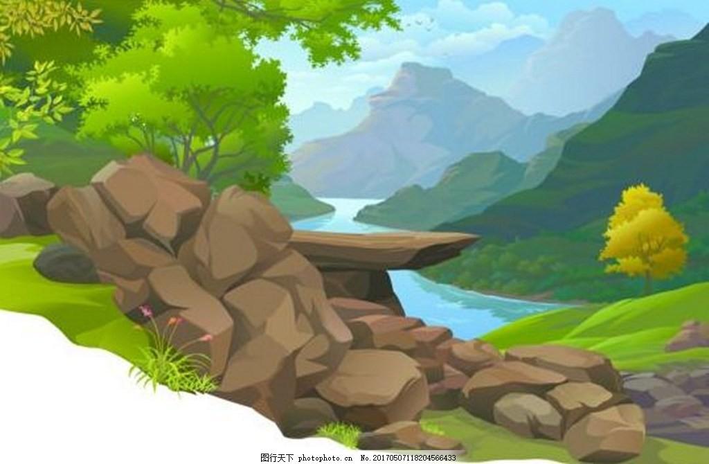 山地背景素材 草 植物 树 森林 矢量背景