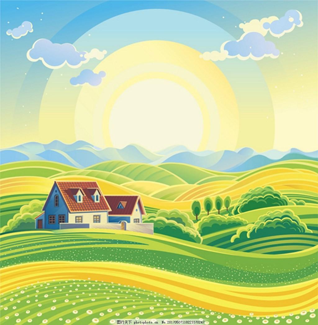 背景素材      设计 背景 eps 素材免费下载 漂亮 乡村 房子 绿色