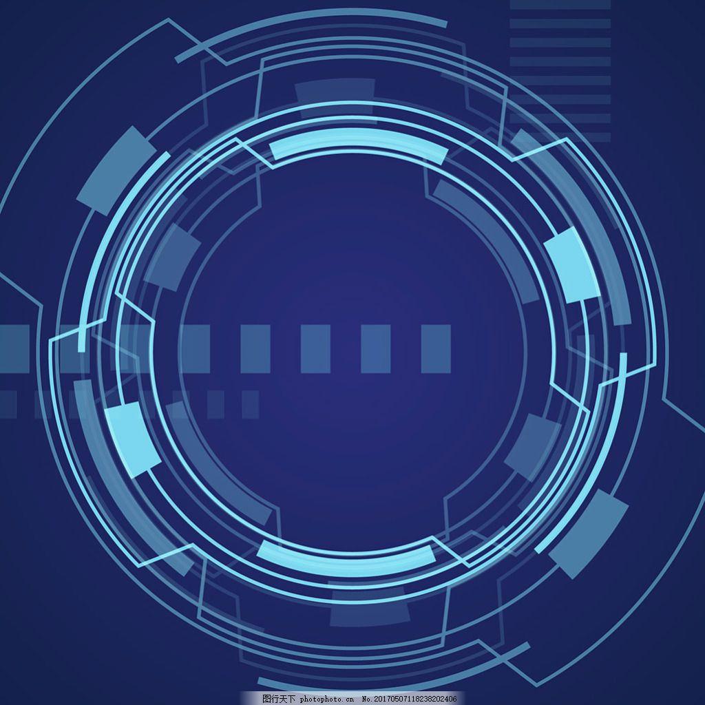 抽象圆形几何图形蓝色背景
