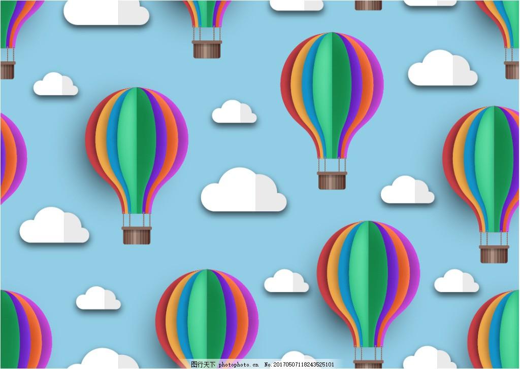 立体手绘热气球背景素材