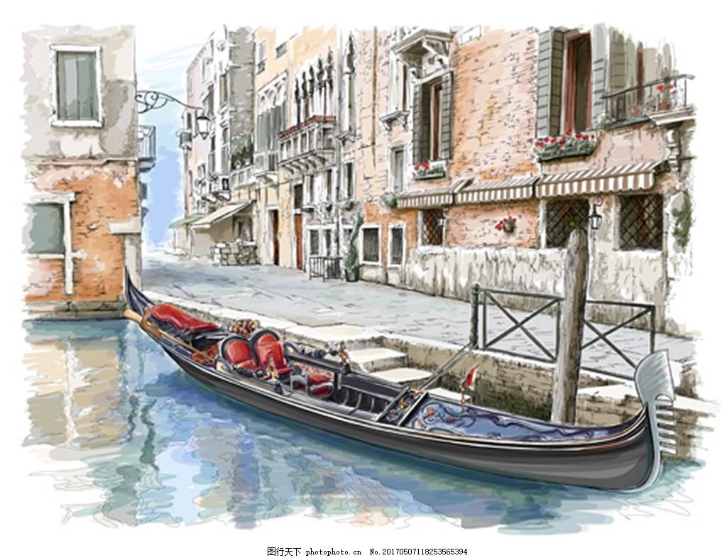 手绘江南小镇背景图 背景素材 广告 素材免费下载 手画 小船 河流