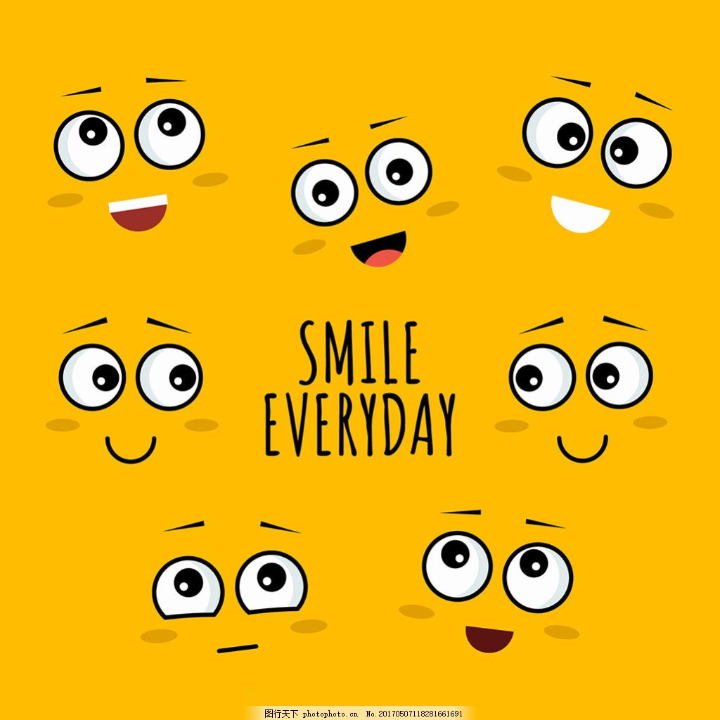 手绘各种创意微笑表情黄色背景 创意插图 卡通风格 儿童插画 欢乐图标