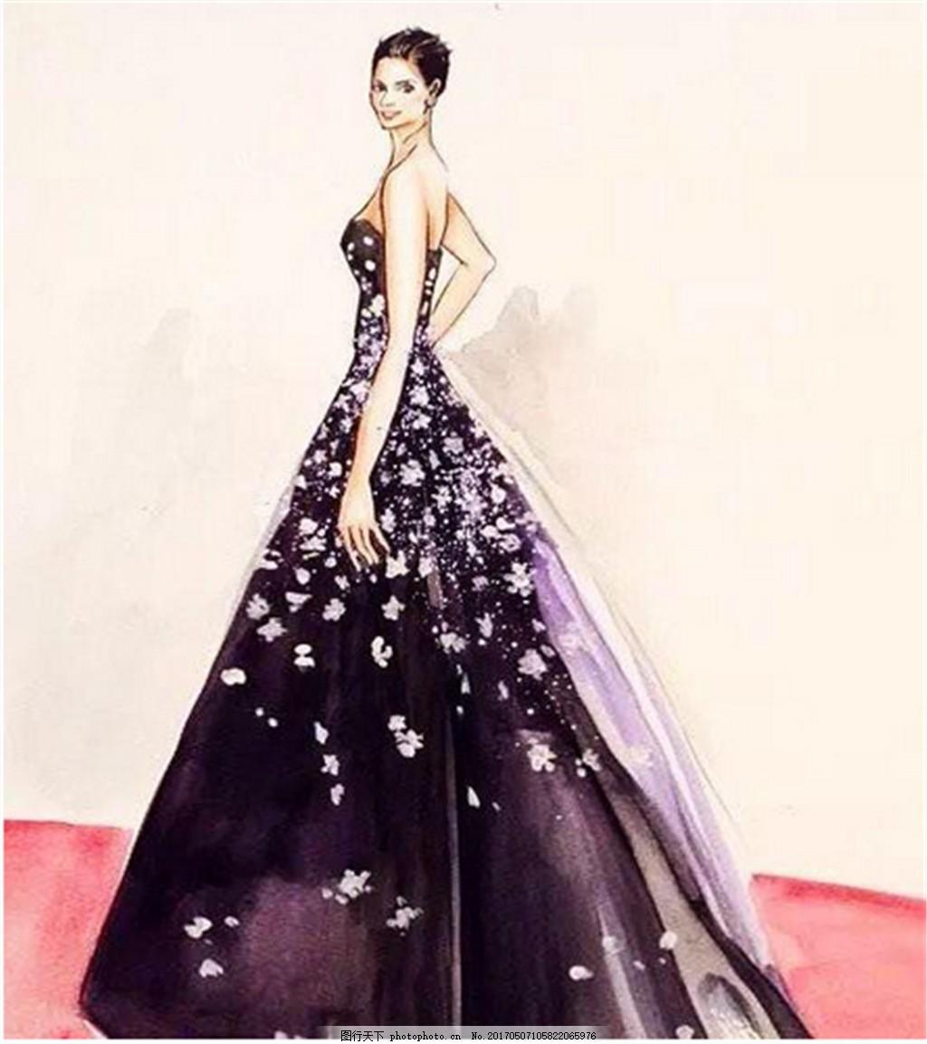 紫色花瓣抹胸礼服设计图