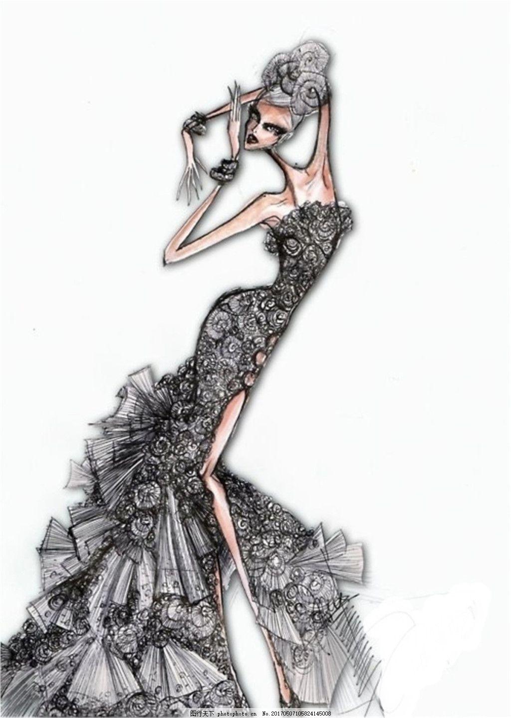 黑色开叉礼服设计图
