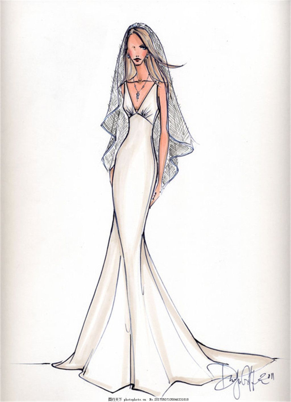 深v婚纱设计图 时尚女装 职业女装 女装设计效果图 短裙 服装图片免费