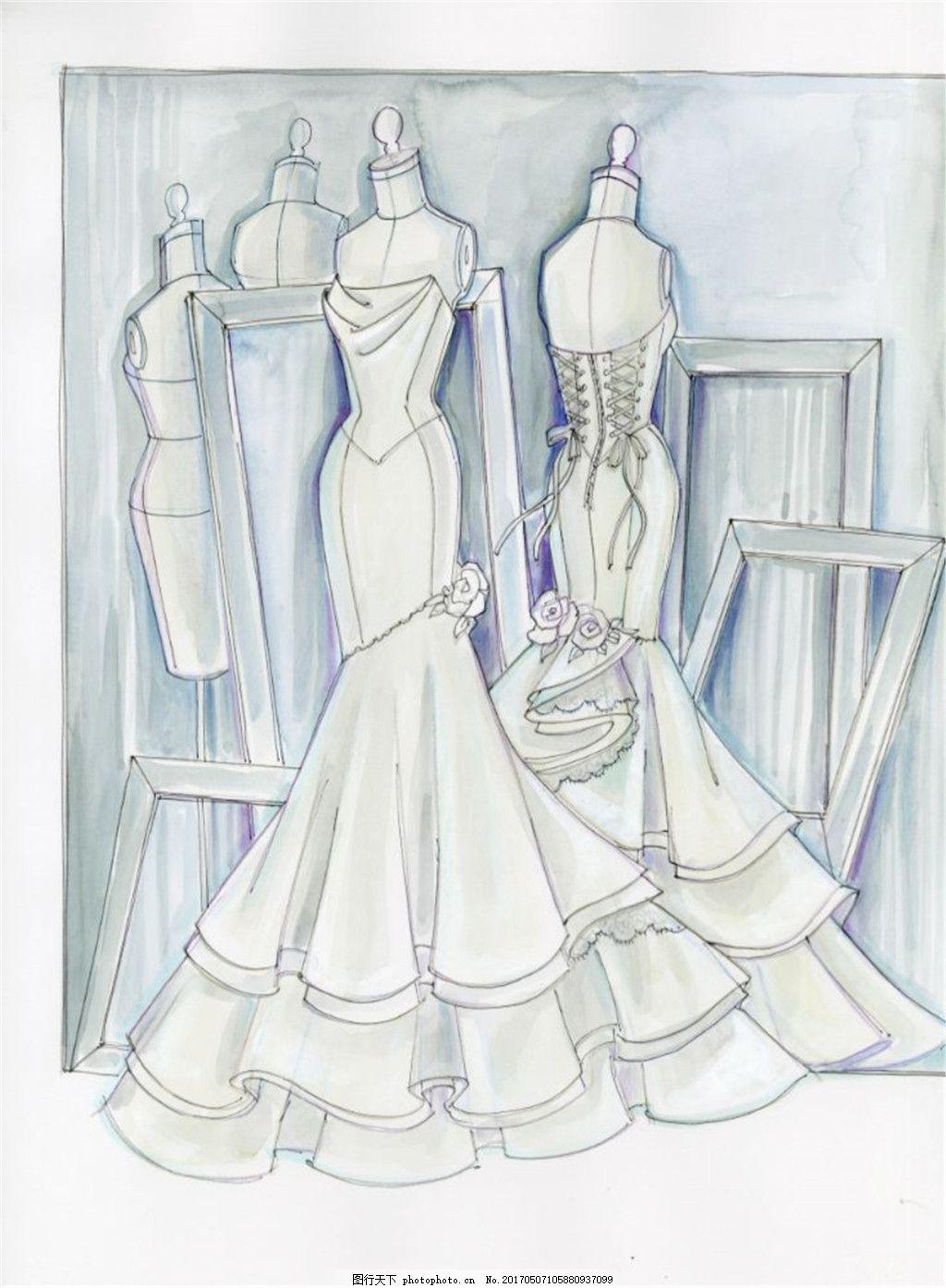 时尚婚纱礼服设计图 时尚女装 职业女装 女装设计效果图 短裙 服装
