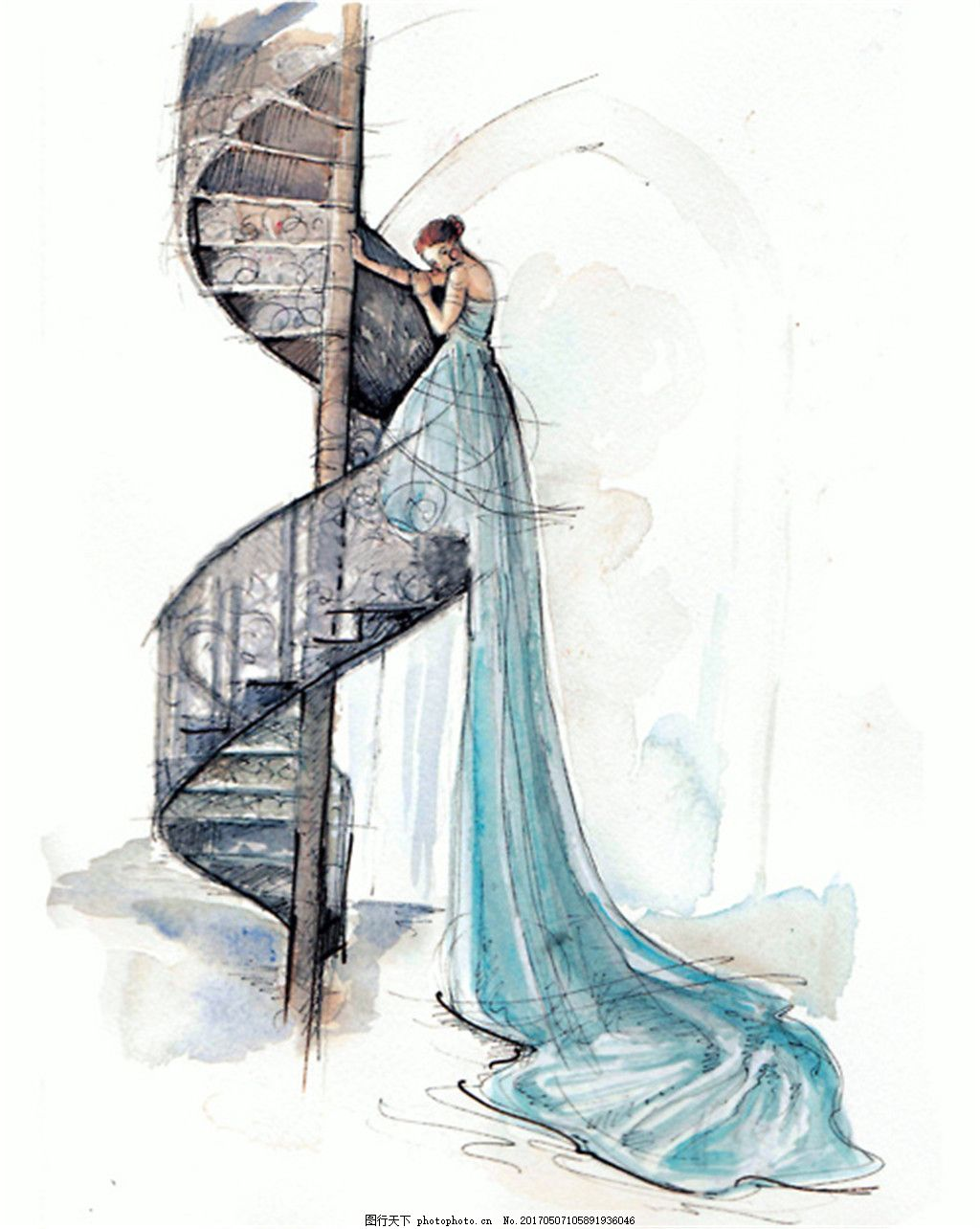 蓝色长裙礼服设计图