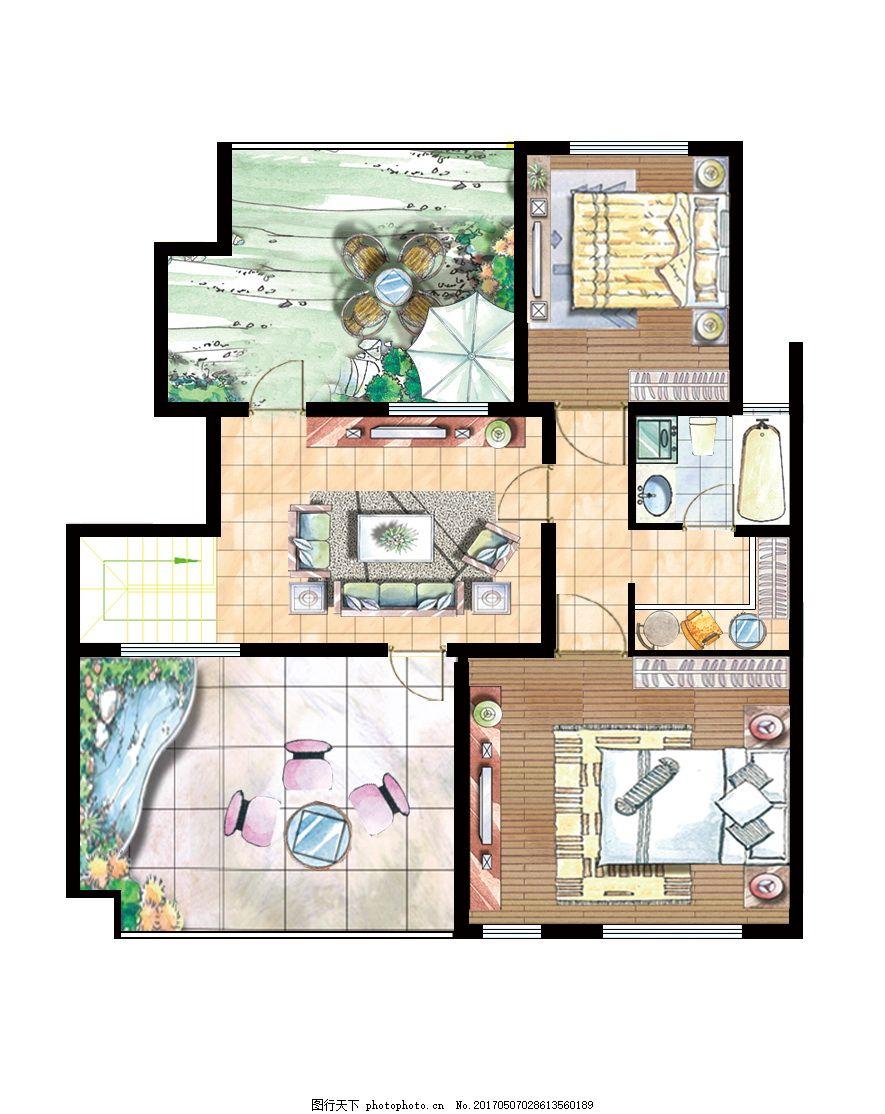 高档手绘家装户型平面图