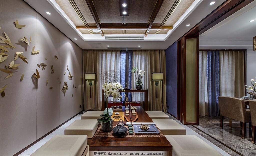新中式簡約茶室裝修效果圖 家居 家具 家具設計 空間設計 室內設計