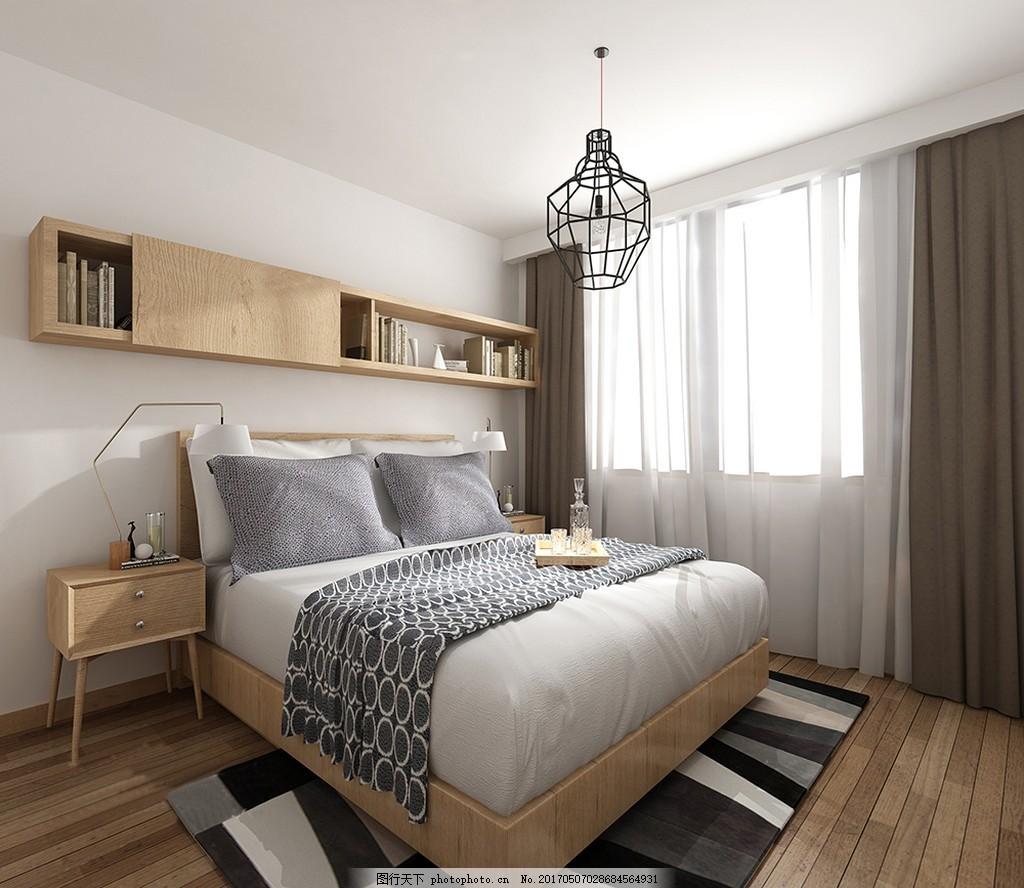 现代卧室简装效果图 室内设计 家装效果图 现代装修效果图 时尚