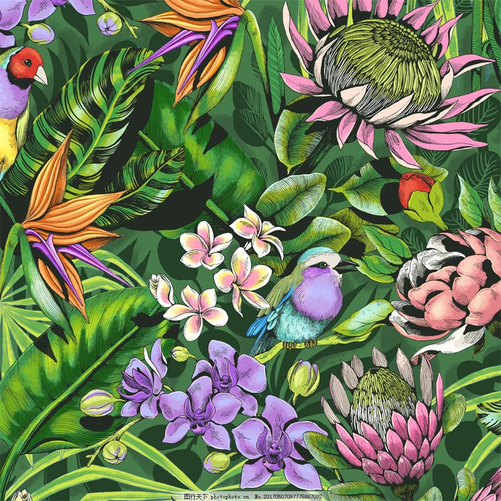 绿色花草布艺壁纸图 中式花纹背景 壁纸素材 无缝壁纸素材 欧式花纹